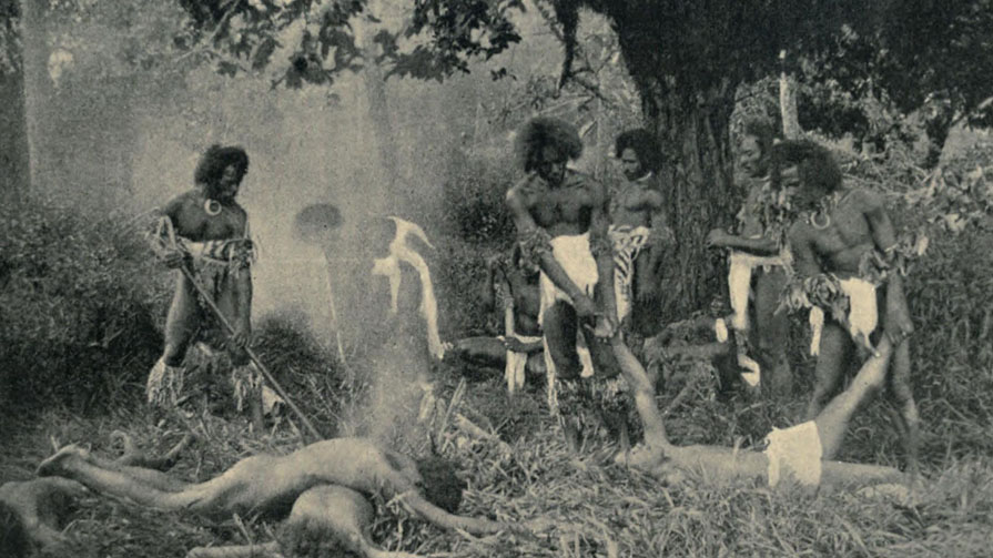 A cannibal feast in Fiji