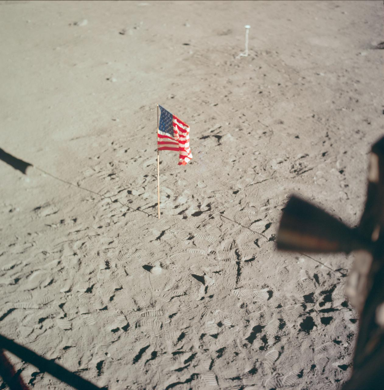 Flag of the U.S. deployed on surface of the Moon