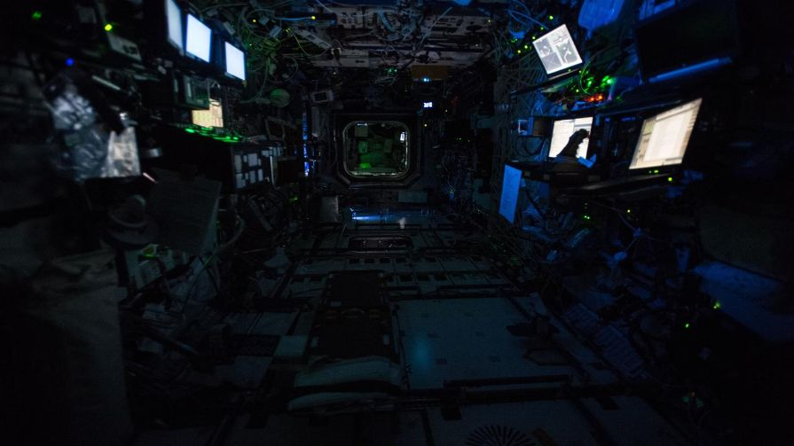 "The International Space Station's Destiny Laboratory at ""night"" shortly before the Expedition 47 crew entered its scheduled sleep period."