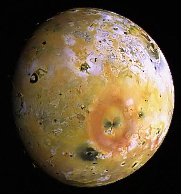 Topography and Volcanoes on Io color