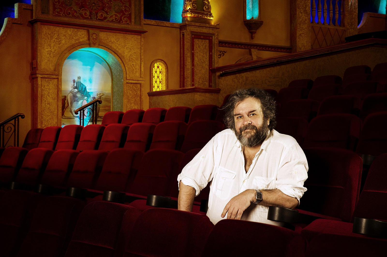 Acclaimed filmmaker Sir Peter Jackson in his private theatre at his filmmaking facilities in Wellington, New Zealand