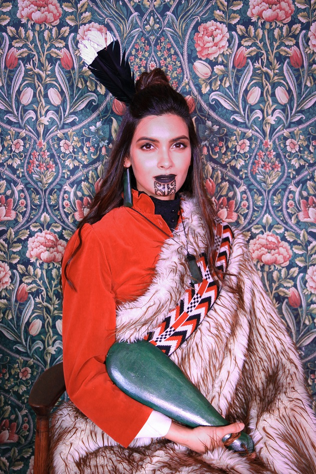 Diana Penty in the style of a Maori ancestor